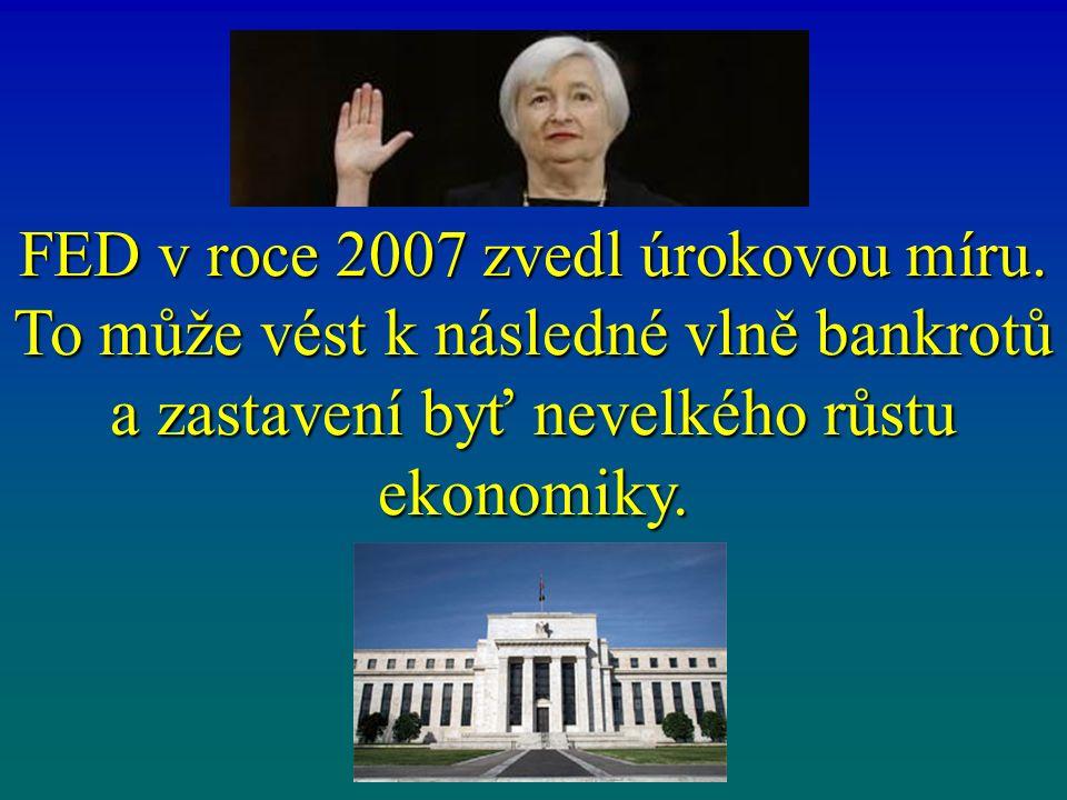FED v roce 2007 zvedl úrokovou míru.