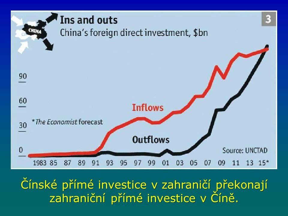 Čínské přímé investice v zahraničí překonají zahraniční přímé investice v Číně.
