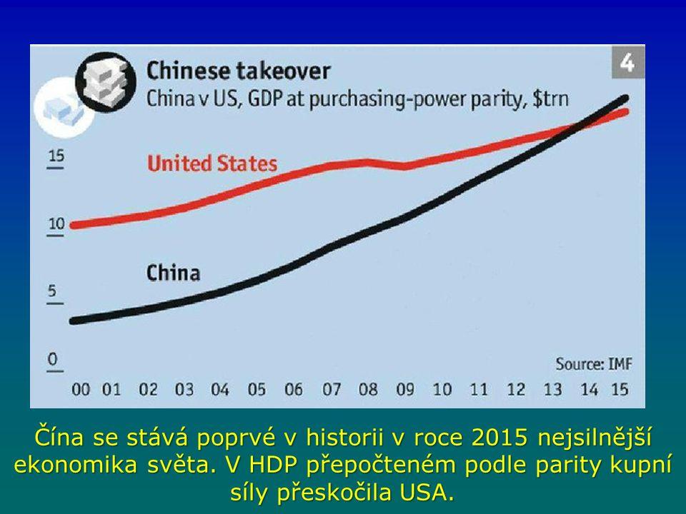 Čína se stává poprvé v historii v roce 2015 nejsilnější ekonomika světa.