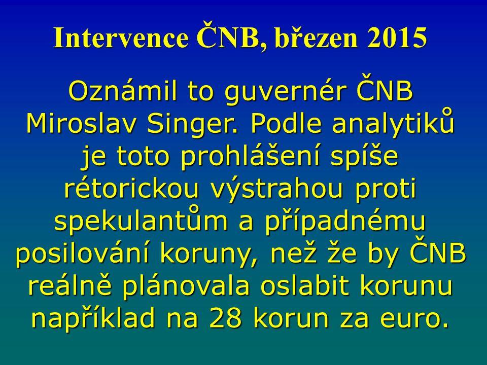 Oznámil to guvernér ČNB Miroslav Singer.