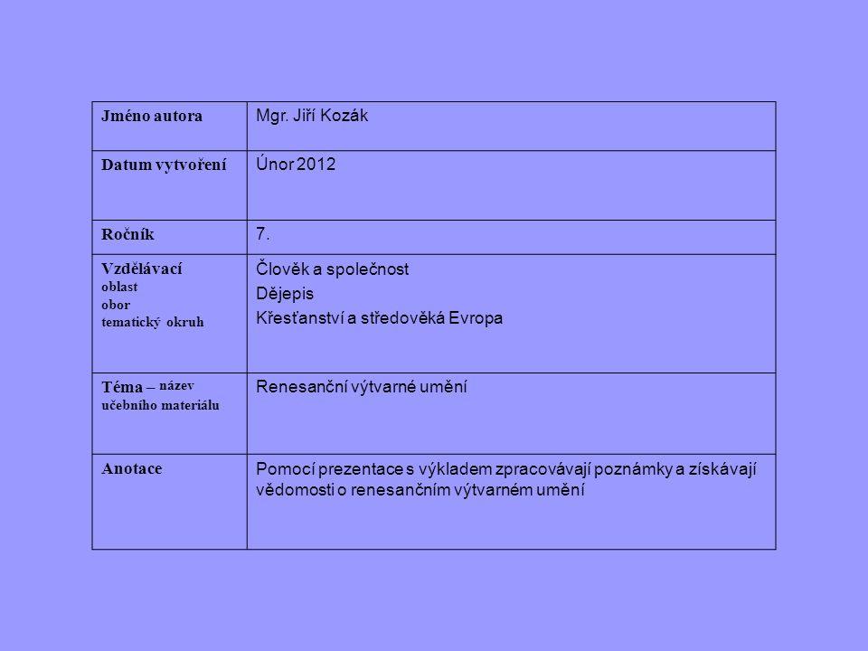 Jméno autora Mgr. Jiří Kozák Datum vytvoření Únor 2012 Ročník 7. Vzdělávací oblast obor tematický okruh Člověk a společnost Dějepis Křesťanství a stře