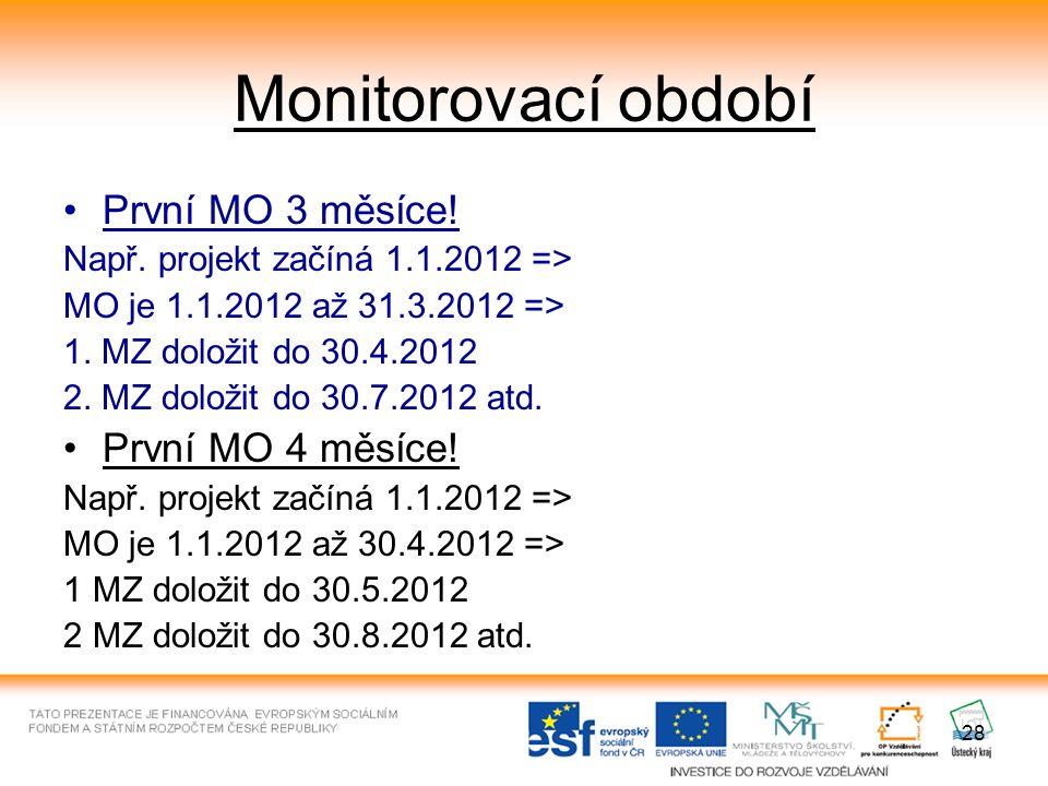 28 Monitorovací období První MO 3 měsíce. Např.