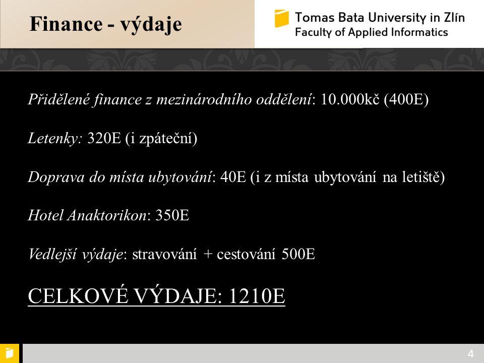 Population protection 4 Finance - výdaje Přidělené finance z mezinárodního oddělení: 10.000kč (400E) Letenky: 320E (i zpáteční) Doprava do místa ubyto