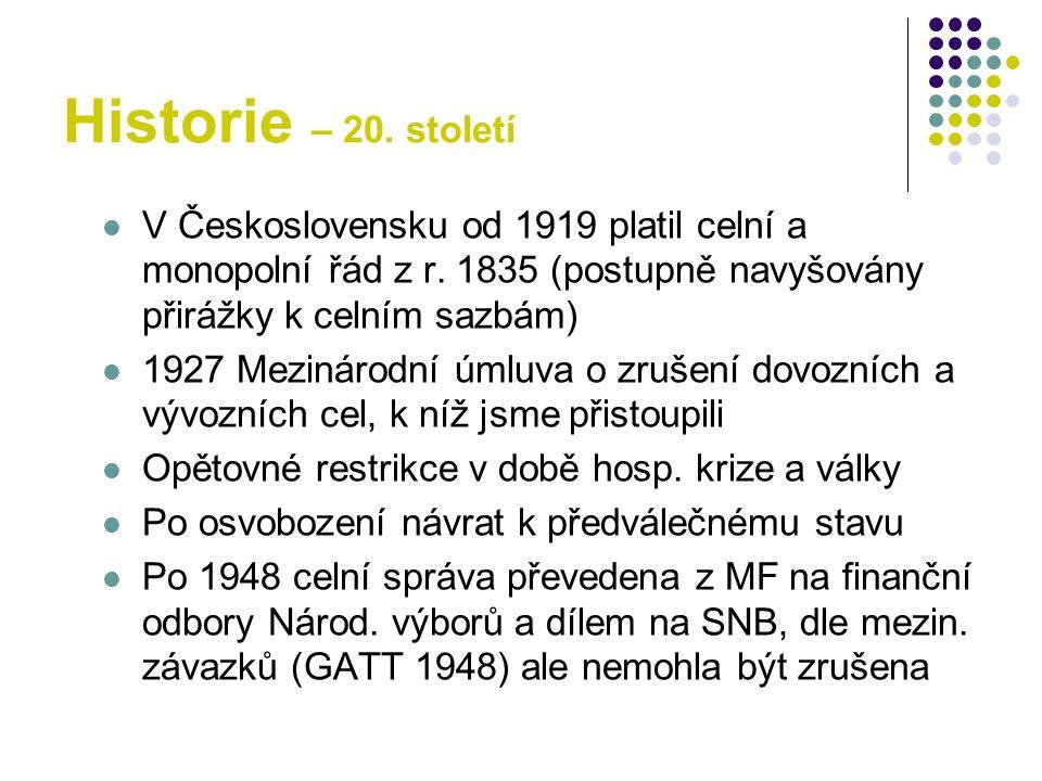 Historie – 20. století V Československu od 1919 platil celní a monopolní řád z r. 1835 (postupně navyšovány přirážky k celním sazbám) 1927 Mezinárodní