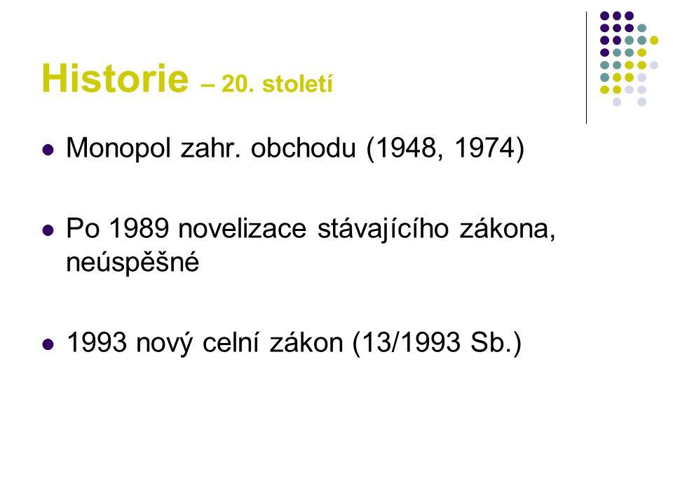 Historie – 20. století Monopol zahr. obchodu (1948, 1974) Po 1989 novelizace stávajícího zákona, neúspěšné 1993 nový celní zákon (13/1993 Sb.)