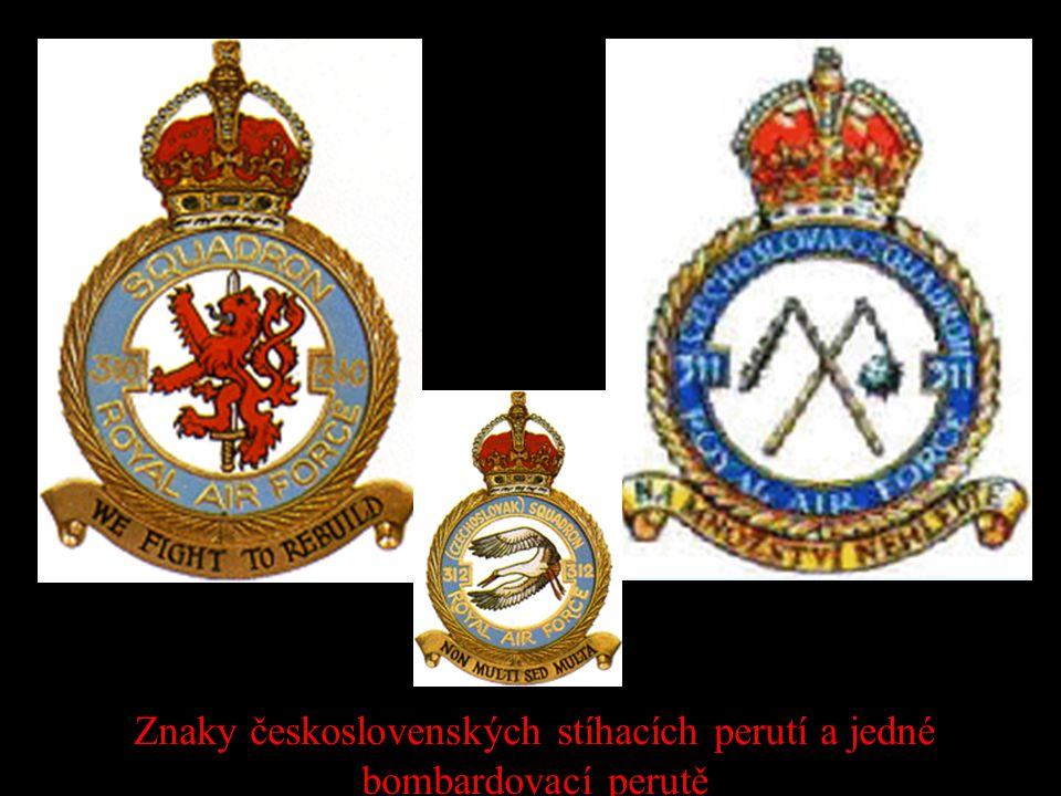 Znaky československých stíhacích perutí a jedné bombardovací perutě