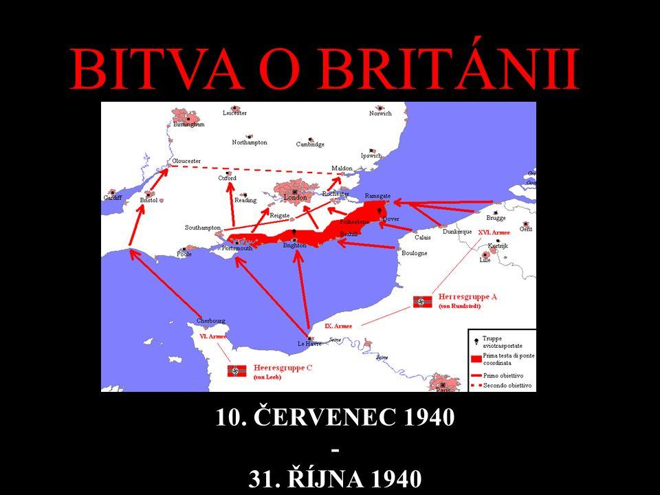 POPIS BITVY střet mezi německou Luftwaffe a britskou Royal Air Force nad Británií a kanálem La Manche první významné střetnutí v dějinách válek vybojované výhradně prostřednictvím leteckých sil smyslem bitvy, kterou rozpoutala německá strana, bylo zničit nebo alespoň výrazně oslabit Royal Air Force a získat tak jednoznačnou vzdušnou převahu nad kanálem La Manche a Británií, což německé velení považovalo za nutnou podmínku pro uskutečnění invaze do Anglie = Operace Seelöwe koncem října 1940 Němci pochopili, že nejsou schopni dosáhnout svého cíle a zničit britskou Royal Air Force, a začali omezovat své akce.