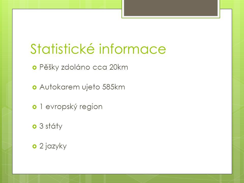 Statistické informace  Pěšky zdoláno cca 20km  Autokarem ujeto 585km  1 evropský region  3 státy  2 jazyky