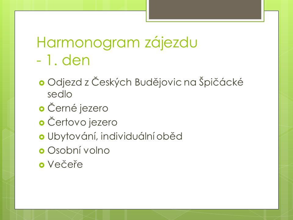 Harmonogram zájezdu - 1.