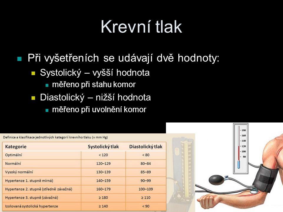 Krevní tlak Při vyšetřeních se udávají dvě hodnoty: Systolický – vyšší hodnota měřeno při stahu komor Diastolický – nižší hodnota měřeno při uvolnění komor