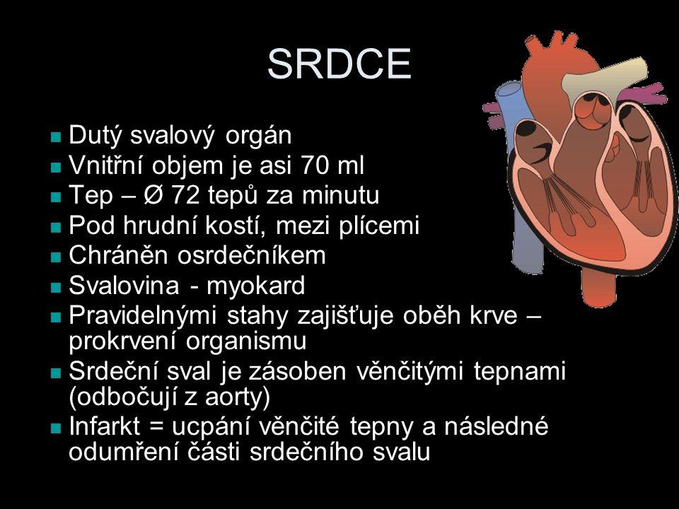 SRDCE Dutý svalový orgán Vnitřní objem je asi 70 ml Tep – Ø 72 tepů za minutu Pod hrudní kostí, mezi plícemi Chráněn osrdečníkem Svalovina - myokard Pravidelnými stahy zajišťuje oběh krve – prokrvení organismu Srdeční sval je zásoben věnčitými tepnami (odbočují z aorty) Infarkt = ucpání věnčité tepny a následné odumření části srdečního svalu