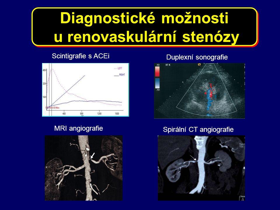 MRI angiografie Spirální CT angiografie Duplexní sonografie Scintigrafie s ACEi Diagnostické možnosti u renovaskulární stenózy Diagnostické možnosti u renovaskulární stenózy
