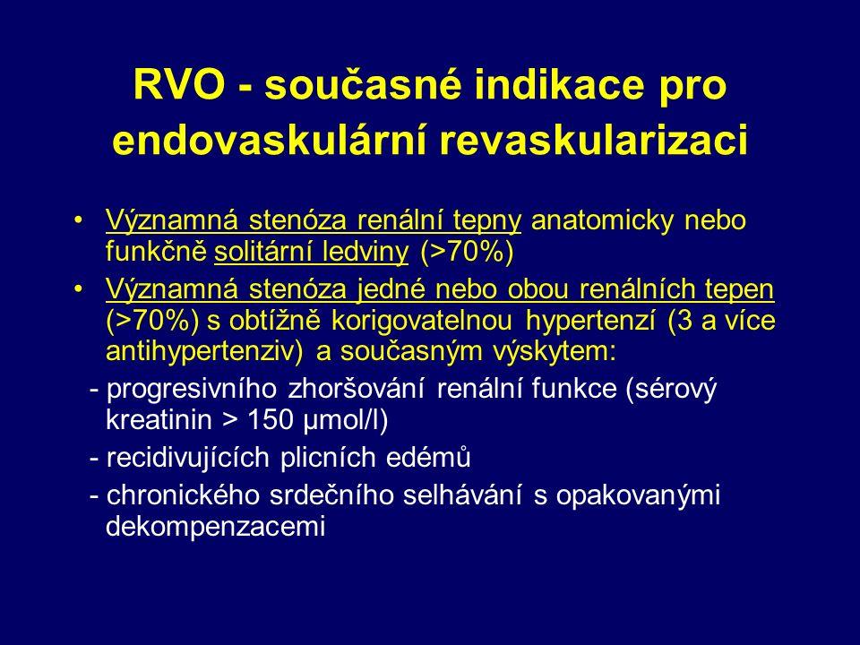RVO - současné indikace pro endovaskulární revaskularizaci Významná stenóza renální tepny anatomicky nebo funkčně solitární ledviny (>70%) Významná stenóza jedné nebo obou renálních tepen (>70%) s obtížně korigovatelnou hypertenzí (3 a více antihypertenziv) a současným výskytem: - progresivního zhoršování renální funkce (sérový kreatinin > 150 μmol/l) - recidivujících plicních edémů - chronického srdečního selhávání s opakovanými dekompenzacemi