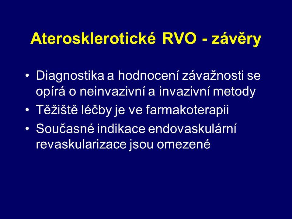 Aterosklerotické RVO - závěry Diagnostika a hodnocení závažnosti se opírá o neinvazivní a invazivní metody Těžiště léčby je ve farmakoterapii Současné indikace endovaskulární revaskularizace jsou omezené