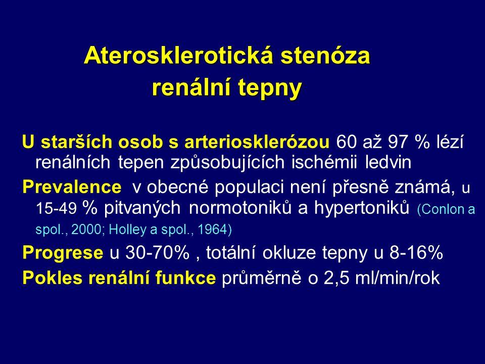 U starších osob s arteriosklerózou 60 až 97 % lézí renálních tepen způsobujících ischémii ledvin Prevalence v obecné populaci není přesně známá, u 15-49 % pitvaných normotoniků a hypertoniků (Conlon a spol., 2000; Holley a spol., 1964) Progrese u 30-70%, totální okluze tepny u 8-16% Pokles renální funkce průměrně o 2,5 ml/min/rok Aterosklerotická stenóza renální tepny