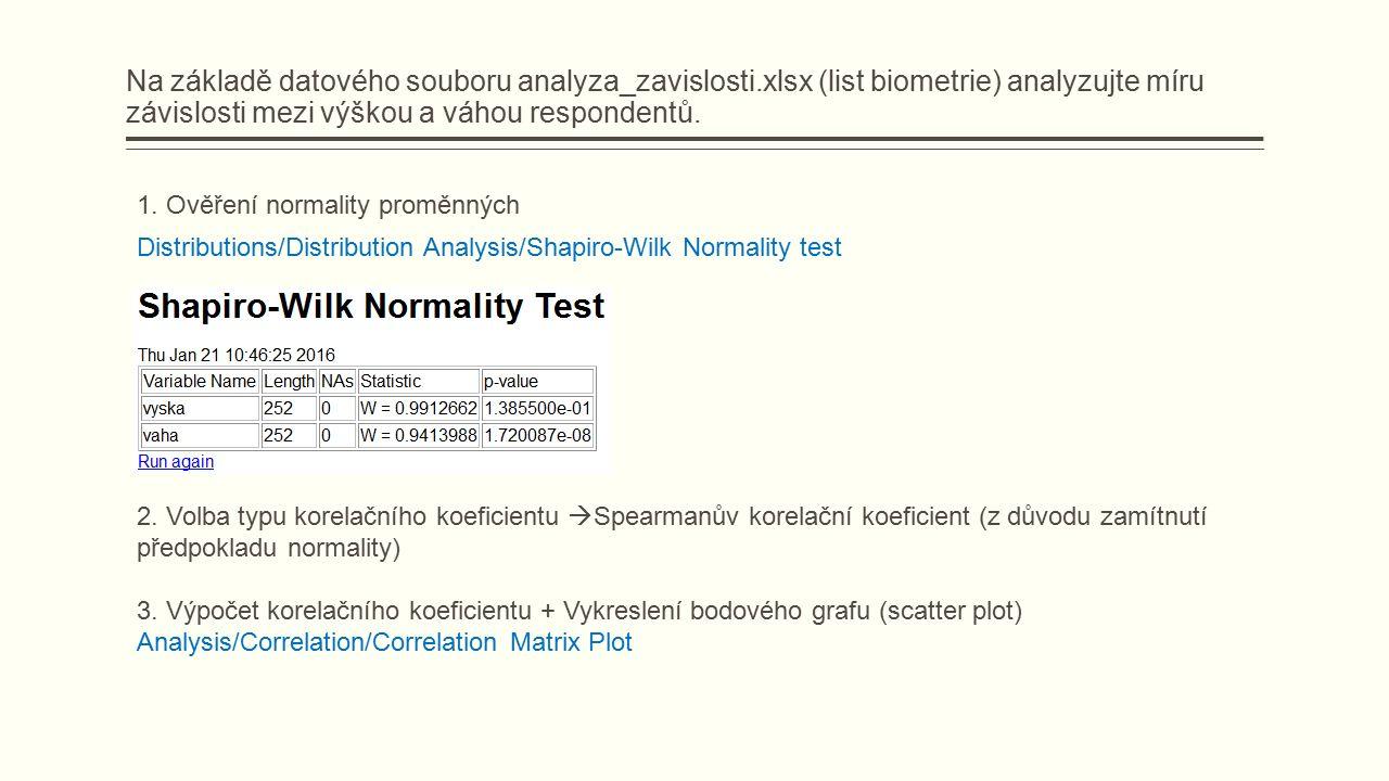 Na základě datového souboru analyza_zavislosti.xlsx (list biometrie) analyzujte míru závislosti mezi výškou a váhou respondentů.