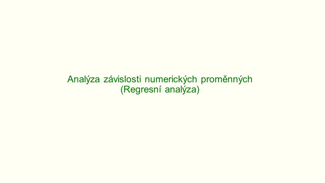 Analýza závislosti numerických proměnných (Regresní analýza)