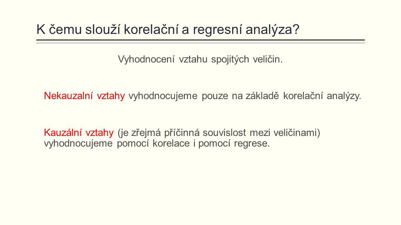 K čemu slouží korelační a regresní analýza? Vyhodnocení vztahu spojitých veličin. Nekauzalní vztahy vyhodnocujeme pouze na základě korelační analýzy.