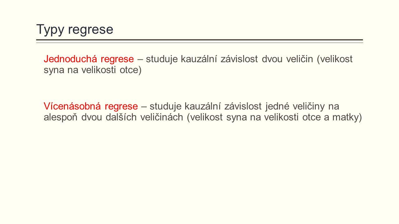 Jednoduchá regrese – studuje kauzální závislost dvou veličin (velikost syna na velikosti otce) Vícenásobná regrese – studuje kauzální závislost jedné veličiny na alespoň dvou dalších veličinách (velikost syna na velikosti otce a matky)