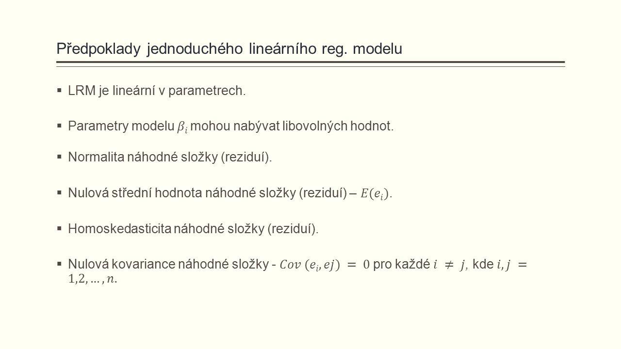 Předpoklady jednoduchého lineárního reg. modelu