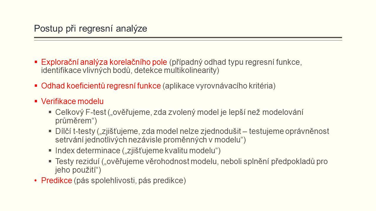 """Postup při regresní analýze  Explorační analýza korelačního pole (případný odhad typu regresní funkce, identifikace vlivných bodů, detekce multikolinearity)  Odhad koeficientů regresní funkce (aplikace vyrovnávacího kritéria)  Verifikace modelu  Celkový F-test (""""ověřujeme, zda zvolený model je lepší než modelování průměrem )  Dílčí t-testy (""""zjišťujeme, zda model nelze zjednodušit – testujeme oprávněnost setrvání jednotlivých nezávisle proměnných v modelu )  Index determinace (""""zjišťujeme kvalitu modelu )  Testy reziduí (""""ověřujeme věrohodnost modelu, neboli splnění předpokladů pro jeho použití ) Predikce (pás spolehlivosti, pás predikce)"""