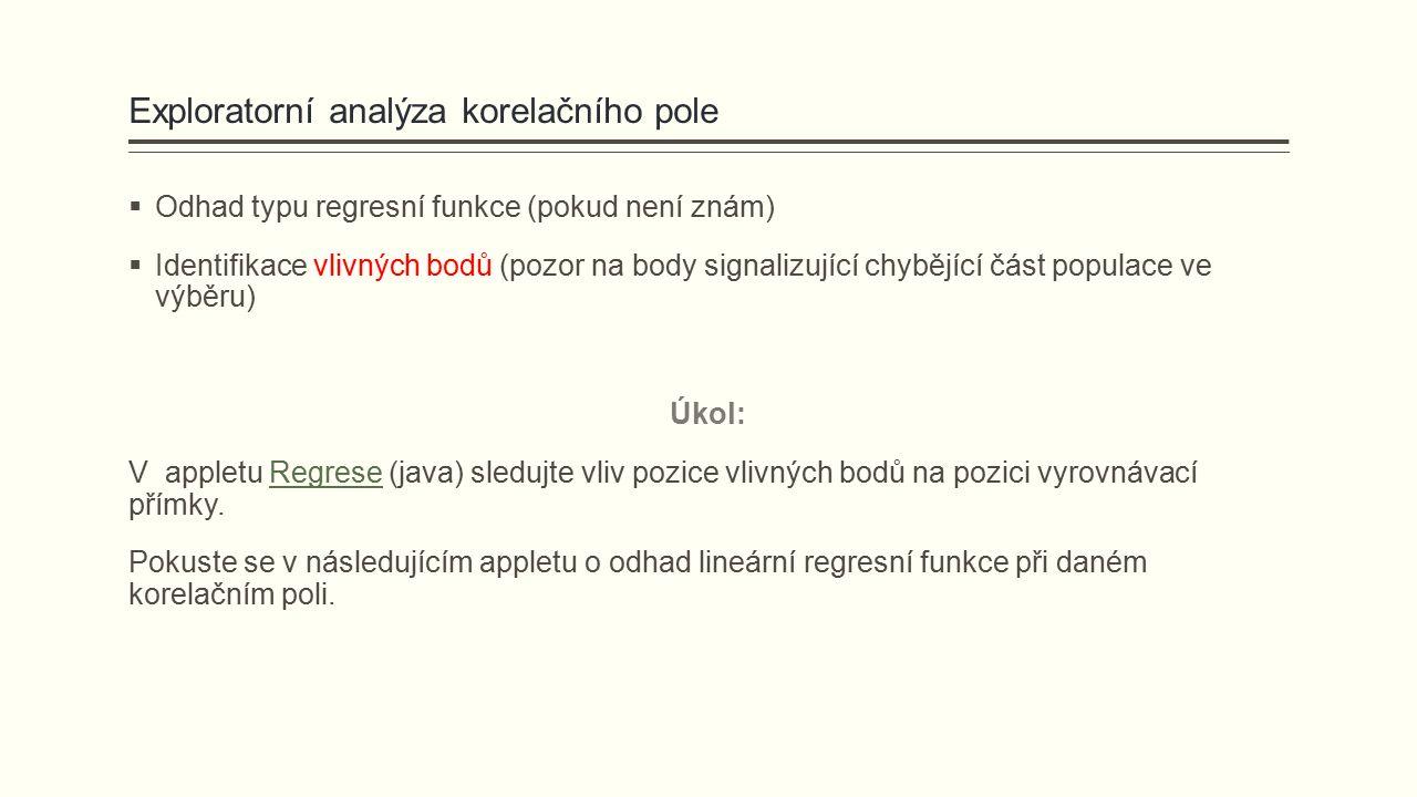 Exploratorní analýza korelačního pole  Odhad typu regresní funkce (pokud není znám)  Identifikace vlivných bodů (pozor na body signalizující chybějí