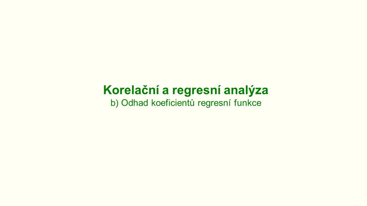 Korelační a regresní analýza b) Odhad koeficientů regresní funkce