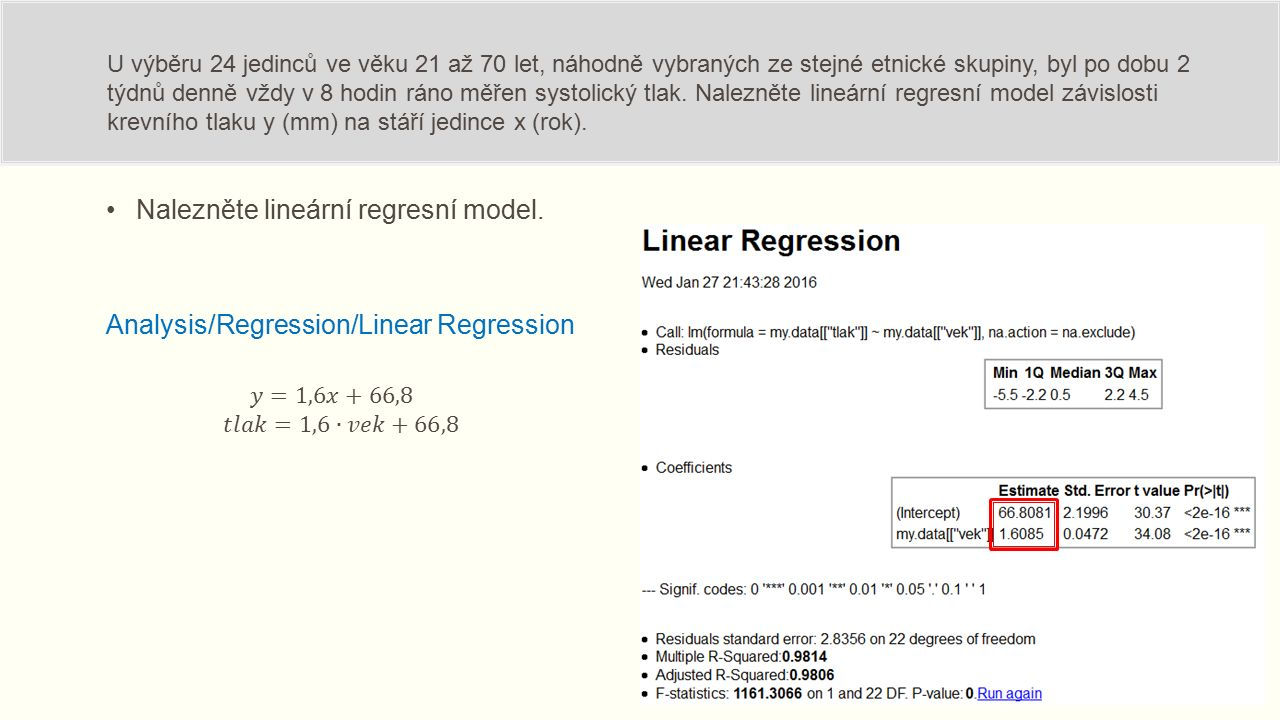 Nalezněte lineární regresní model. U výběru 24 jedinců ve věku 21 až 70 let, náhodně vybraných ze stejné etnické skupiny, byl po dobu 2 týdnů denně vž