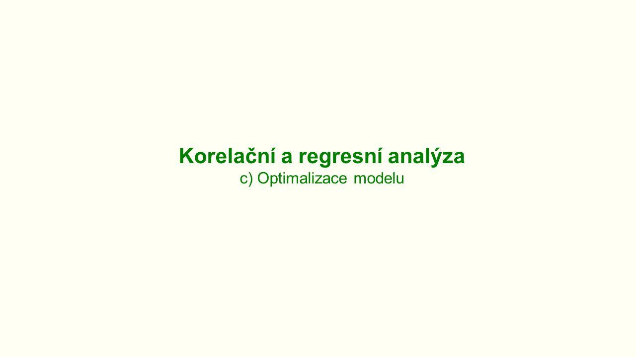 Korelační a regresní analýza c) Optimalizace modelu