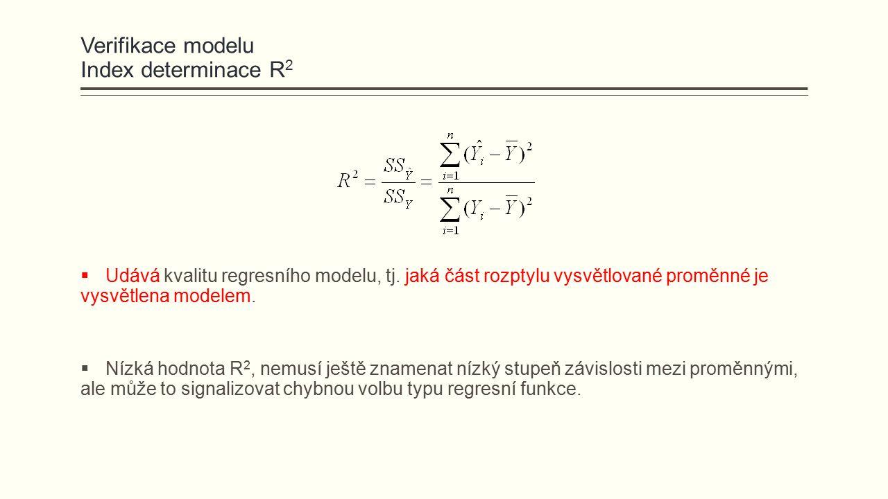 Verifikace modelu Index determinace R 2  Udává kvalitu regresního modelu, tj. jaká část rozptylu vysvětlované proměnné je vysvětlena modelem.  Nízká