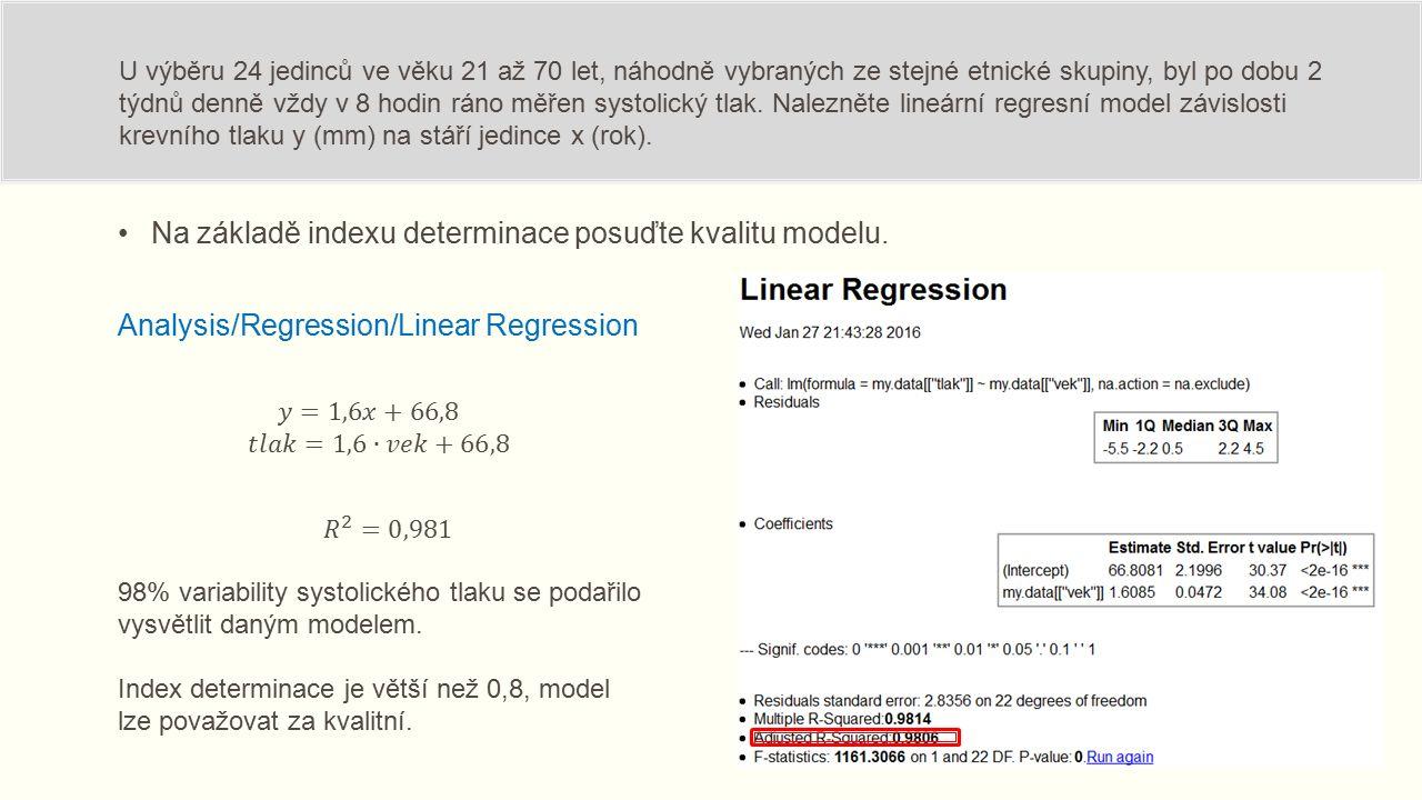 Na základě indexu determinace posuďte kvalitu modelu.