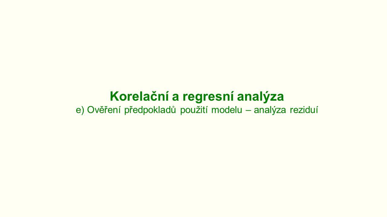Korelační a regresní analýza e) Ověření předpokladů použití modelu – analýza reziduí