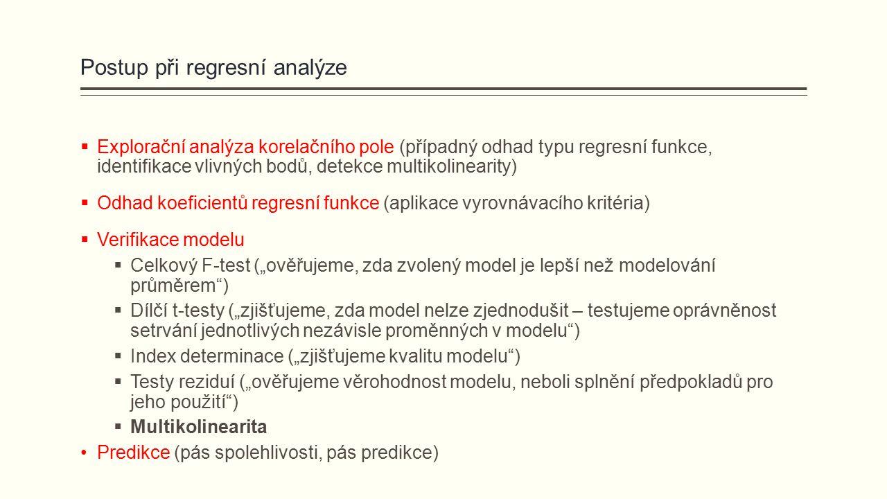 """Postup při regresní analýze  Explorační analýza korelačního pole (případný odhad typu regresní funkce, identifikace vlivných bodů, detekce multikolinearity)  Odhad koeficientů regresní funkce (aplikace vyrovnávacího kritéria)  Verifikace modelu  Celkový F-test (""""ověřujeme, zda zvolený model je lepší než modelování průměrem )  Dílčí t-testy (""""zjišťujeme, zda model nelze zjednodušit – testujeme oprávněnost setrvání jednotlivých nezávisle proměnných v modelu )  Index determinace (""""zjišťujeme kvalitu modelu )  Testy reziduí (""""ověřujeme věrohodnost modelu, neboli splnění předpokladů pro jeho použití )  Multikolinearita Predikce (pás spolehlivosti, pás predikce)"""