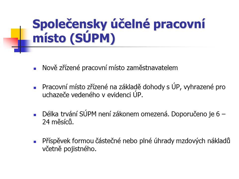 Společensky účelné pracovní místo (SÚPM) Nově zřízené pracovní místo zaměstnavatelem Pracovní místo zřízené na základě dohody s ÚP, vyhrazené pro ucha