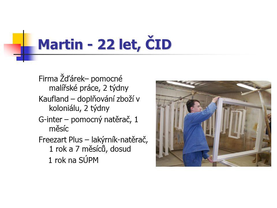 Martin - 22 let, ČID Firma Žďárek– pomocné malířské práce, 2 týdny Kaufland – doplňování zboží v koloniálu, 2 týdny G-inter – pomocný natěrač, 1 měsíc Freezart Plus – lakýrník-natěrač, 1 rok a 7 měsíců, dosud 1 rok na SÚPM