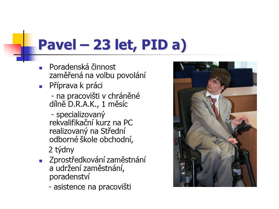 Pavel – 23 let, PID a) Poradenská činnost zaměřená na volbu povolání Příprava k práci - na pracovišti v chráněné dílně D.R.A.K., 1 měsíc - specializovaný rekvalifikační kurz na PC realizovaný na Střední odborné škole obchodní, 2 týdny Zprostředkování zaměstnání a udržení zaměstnání, poradenství - asistence na pracovišti