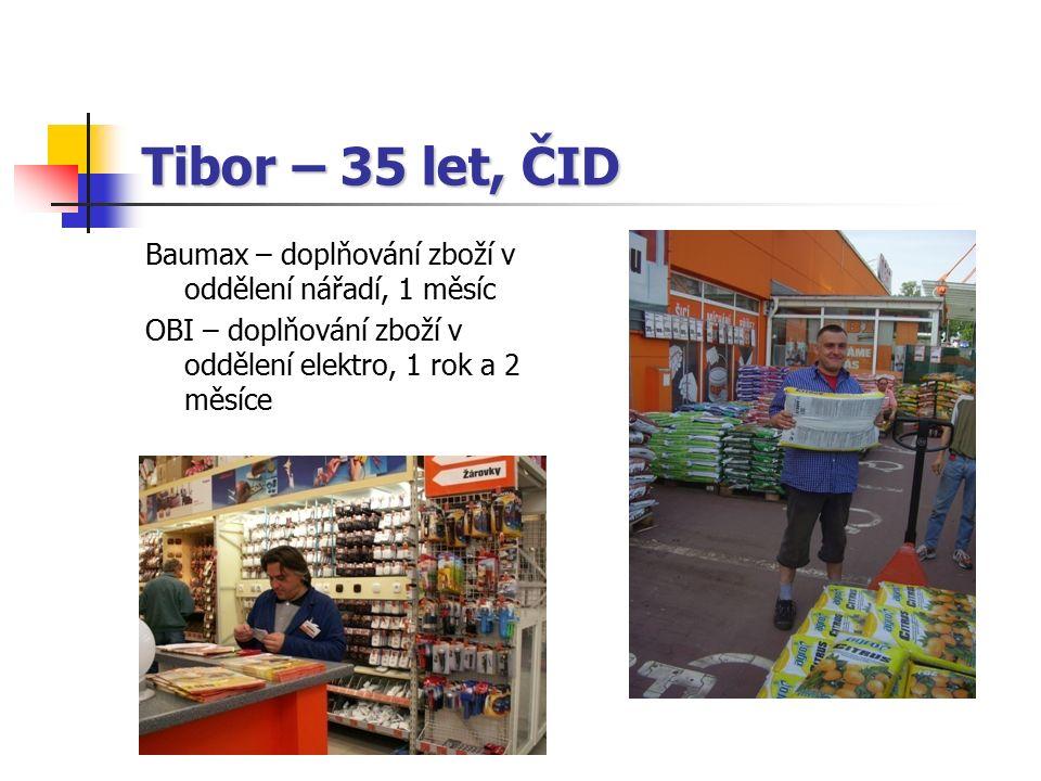 Tibor – 35 let, ČID Baumax – doplňování zboží v oddělení nářadí, 1 měsíc OBI – doplňování zboží v oddělení elektro, 1 rok a 2 měsíce