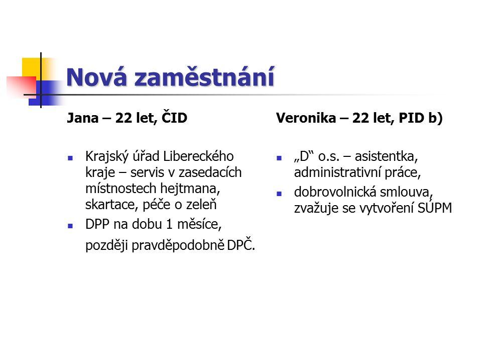 Nová zaměstnání Jana – 22 let, ČID Krajský úřad Libereckého kraje – servis v zasedacích místnostech hejtmana, skartace, péče o zeleň DPP na dobu 1 měsíce, později pravděpodobně DPČ.