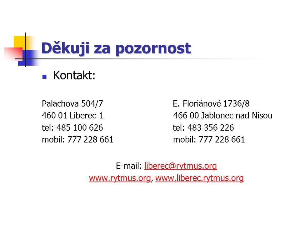 Děkuji za pozornost Kontakt: Palachova 504/7 E. Floriánové 1736/8 460 01 Liberec 1 466 00 Jablonec nad Nisou tel: 485 100 626 tel: 483 356 226 mobil: