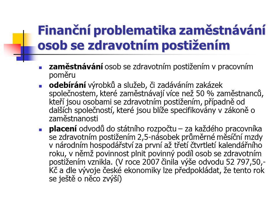 Finanční problematika zaměstnávání osob se zdravotním postižením zaměstnávání osob se zdravotním postižením v pracovním poměru odebírání výrobků a slu