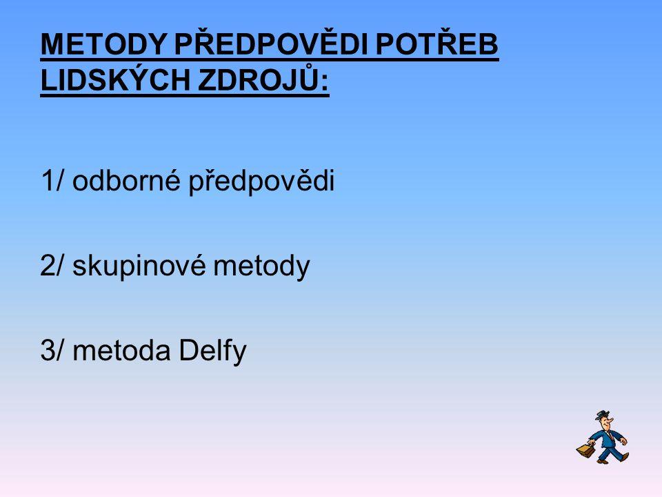 METODY PŘEDPOVĚDI POTŘEB LIDSKÝCH ZDROJŮ: 1/ odborné předpovědi 2/ skupinové metody 3/ metoda Delfy