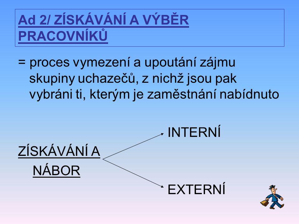 Ad 2/ ZÍSKÁVÁNÍ A VÝBĚR PRACOVNÍKŮ = proces vymezení a upoutání zájmu skupiny uchazečů, z nichž jsou pak vybráni ti, kterým je zaměstnání nabídnuto INTERNÍ ZÍSKÁVÁNÍ A NÁBOR EXTERNÍ