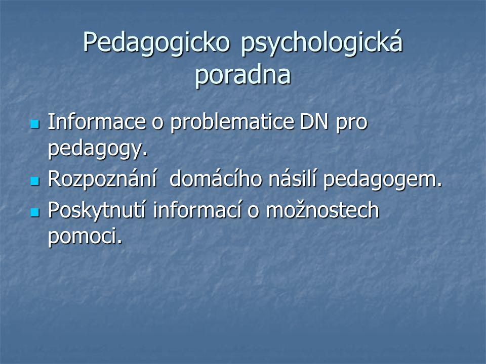 Pedagogicko psychologická poradna Informace o problematice DN pro pedagogy.