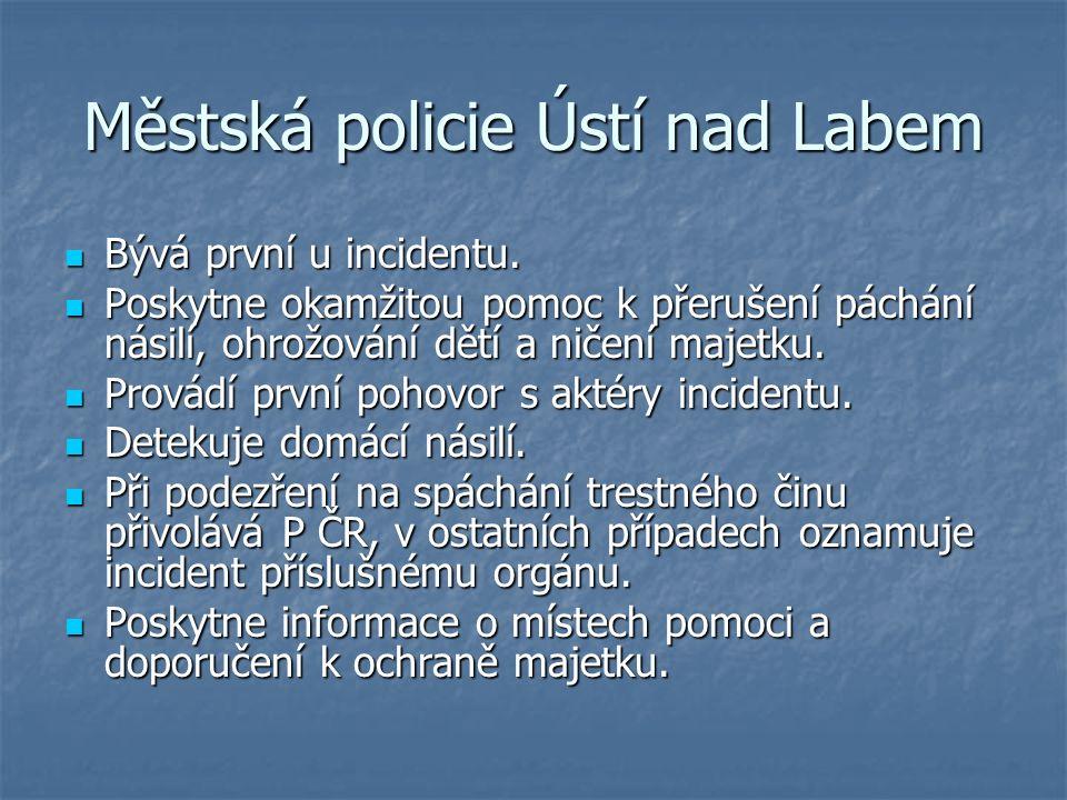 Městská policie Ústí nad Labem Bývá první u incidentu.