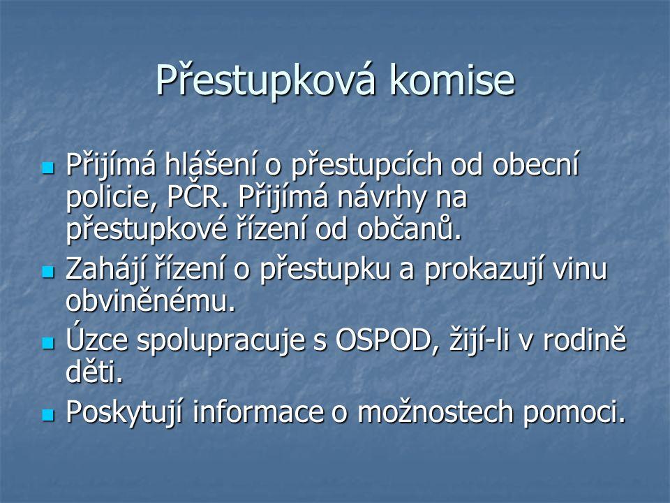 Přestupková komise Přijímá hlášení o přestupcích od obecní policie, PČR.