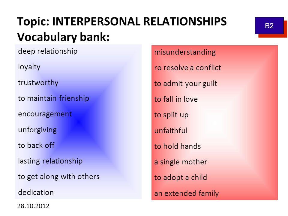 Kliknutím lze upravit styl předlohy. 28.10.2012 Topic: INTERPERSONAL RELATIONSHIPS Vocabulary bank: B2 deep relationship loyalty trustworthy to mainta