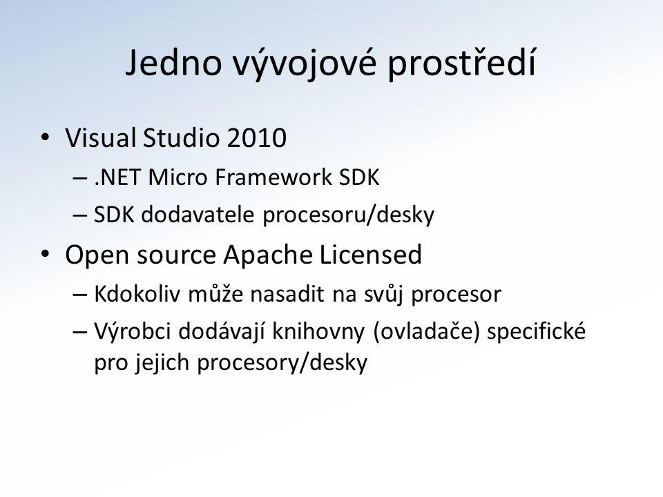 Jedno vývojové prostředí Visual Studio 2010 –.NET Micro Framework SDK – SDK dodavatele procesoru/desky Open source Apache Licensed – Kdokoliv může nasadit na svůj procesor – Výrobci dodávají knihovny (ovladače) specifické pro jejich procesory/desky