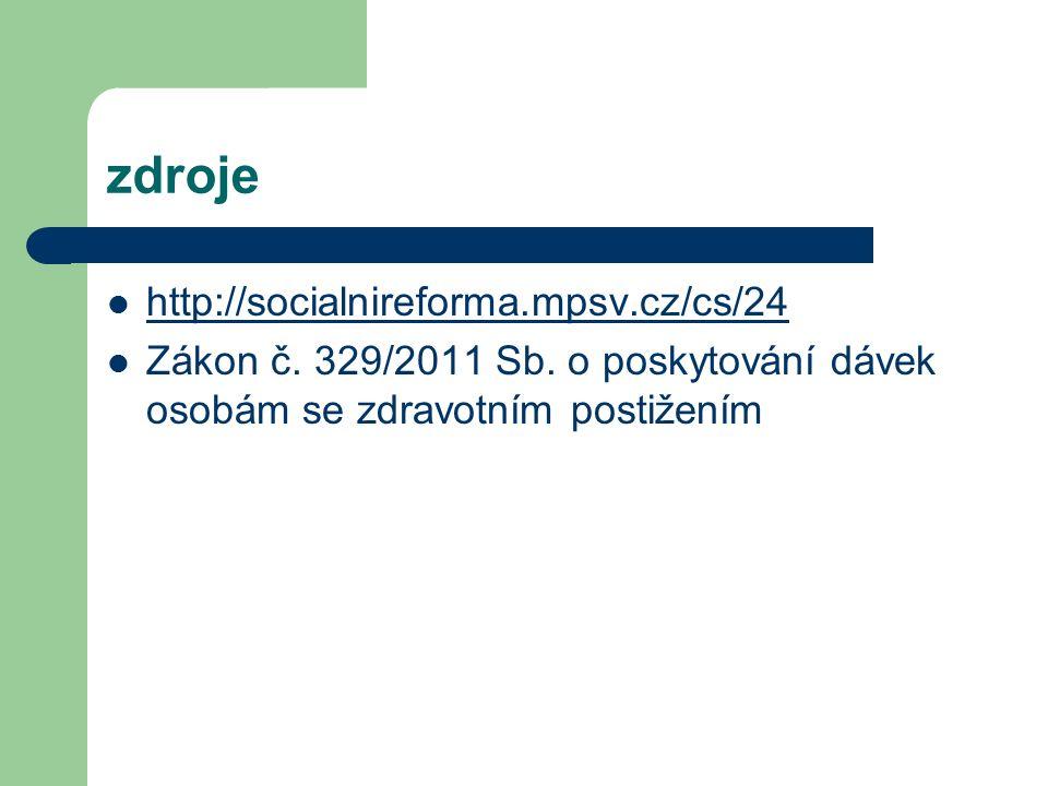 zdroje http://socialnireforma.mpsv.cz/cs/24 Zákon č.