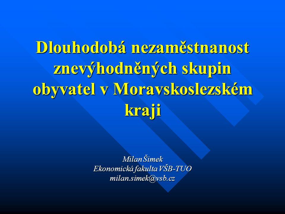Milan Šimek Ekonomická fakulta VŠB-TUO milan.simek@vsb.cz Dlouhodobá nezaměstnanost znevýhodněných skupin obyvatel v Moravskoslezském kraji