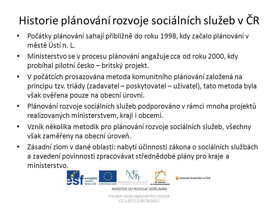 Historie plánování rozvoje sociálních služeb v ČR Počátky plánování sahají přibližně do roku 1998, kdy začalo plánování v městě Ústí n.